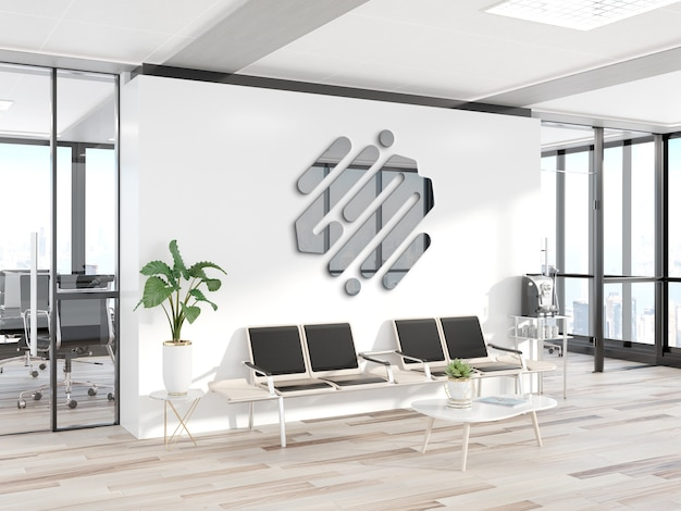 Reflective metal logo on office wall mockup