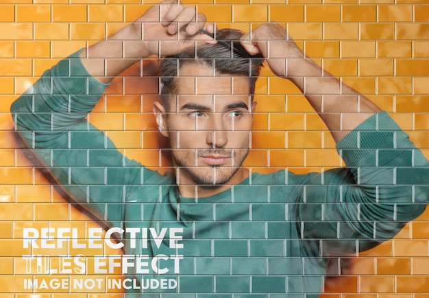 Reflective tiled underground wall photo effect mockup