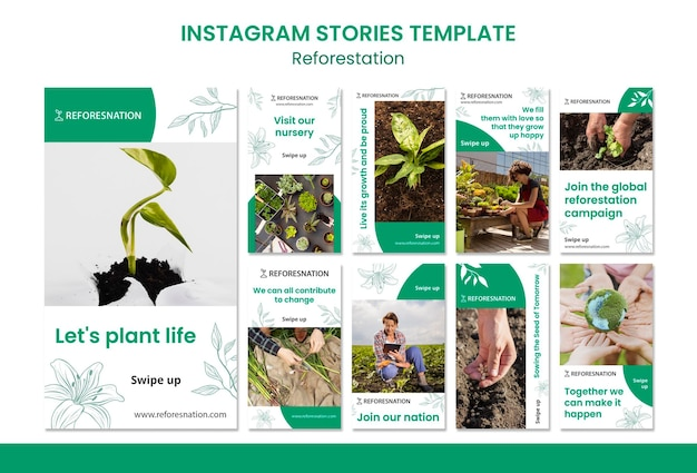 Reforestation instagram stories template