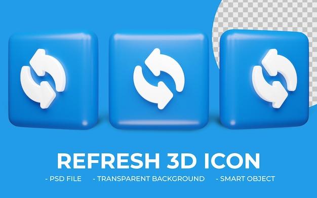 Обновить или перезагрузить значок 3d-рендеринга изолированные