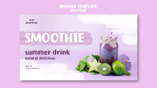 Refreshing smoothie banner template with photo