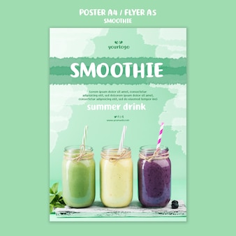 Refreshing smoothie flyer template with photo