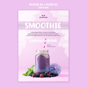 Refreshing smoothie flyer template