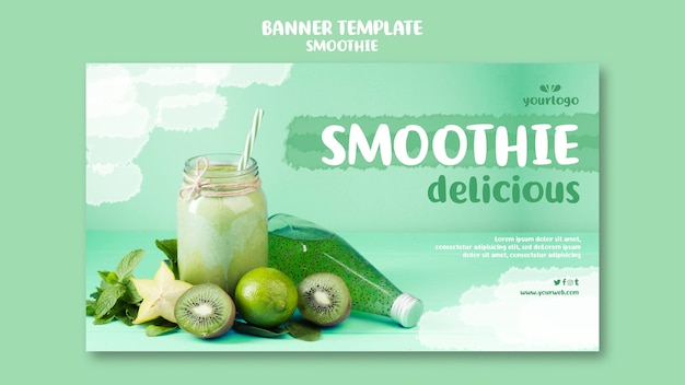 Refreshing smoothie horizontal banner template with photo