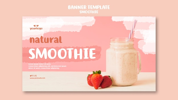 Refreshing smoothie horizontal banner template