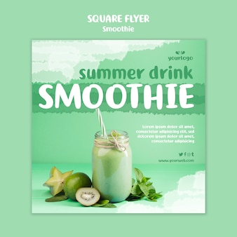 Refreshing smoothie square flyer template with photo