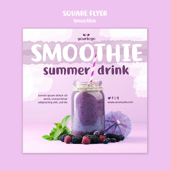 Refreshing smoothie square flyer template