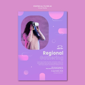 Regional gathering on virtual reality poster template