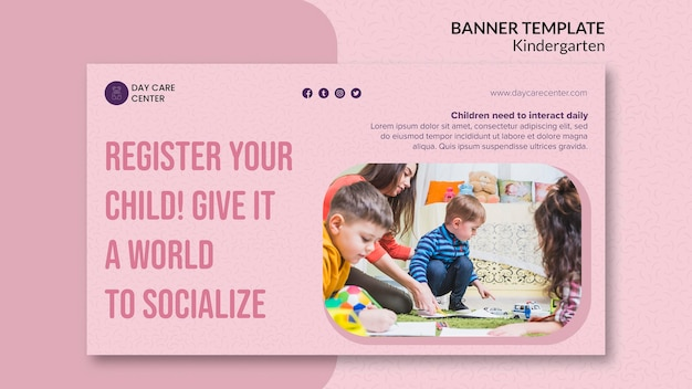 Register your child kindergarten banner template