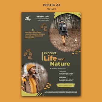 自然とリラックスa4ポスターテンプレート
