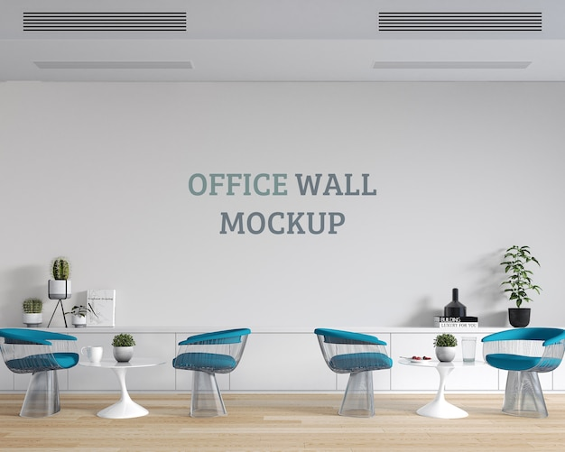 Relaxing sitting space at work with wall mockup