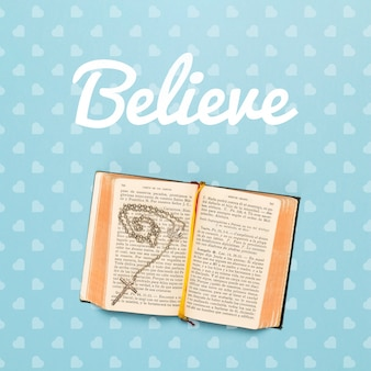 Religious concept with bible mock-up