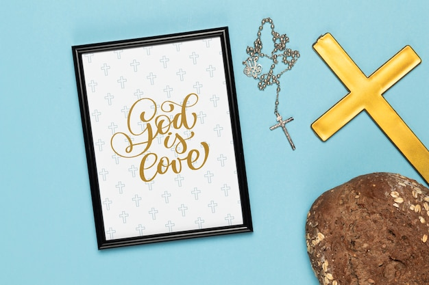 Religious concept with cross and frame mock-up