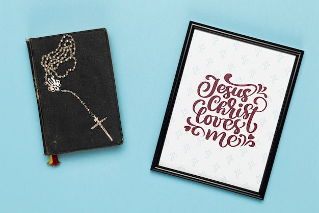 Religious concept with frame and bible