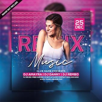Remix music dj party flyer template