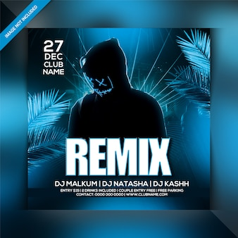 Remix night party flyer template