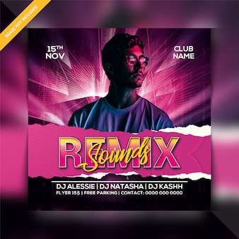 Remix sounds party flyer template