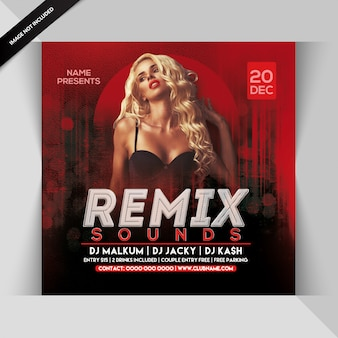 Remix sounds party flyer