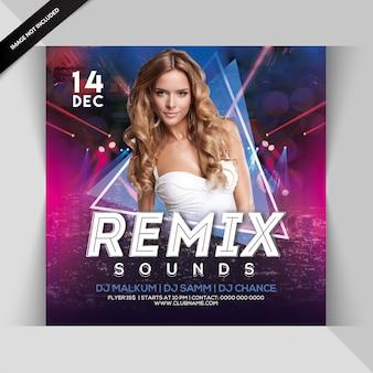Remix sounds party flyer