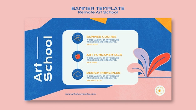Remote art school horizontal banner template