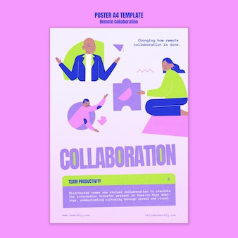 Remote collaboration a4 poster template