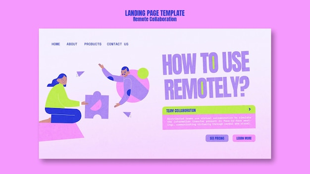 Remote collaboration landing page template
