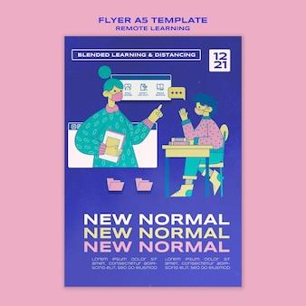 Apprendimento remoto nuovo modello di volantino normale
