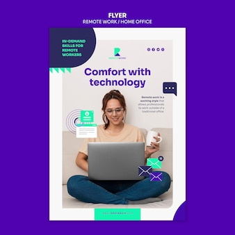Remote working flyer template