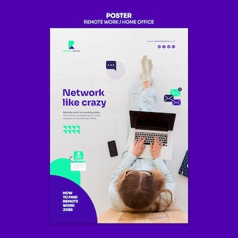 Remote working poster template