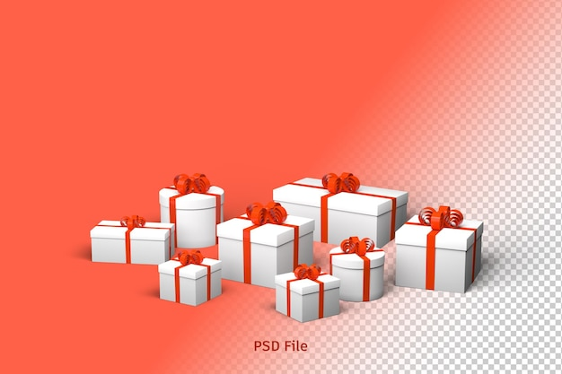 Render 3d, christmas and new year greeting background with gift boxes with red bows