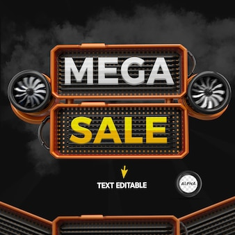 Render 3d element for mega sale composition with editable text for general stores