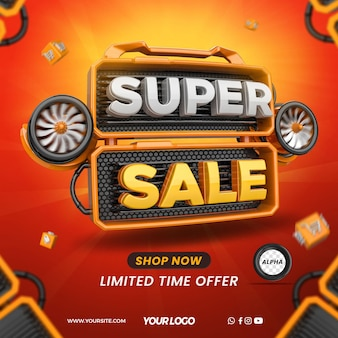 Render 3d element for super sale with turbines for composition in general stores