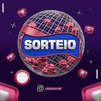 Render 3d globe of raffle instagram campaign in brazil