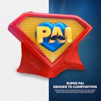 포르투갈어로 캠페인을 위해 3d 왼쪽 슈퍼 영웅 아빠 렌더링