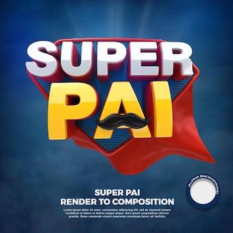 포르투갈어로 캠페인을 위해 3d 슈퍼 영웅 아빠 렌더링