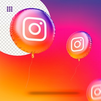 Render balloon instagram icon for social media decoration