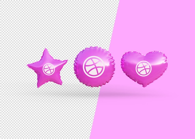 Render dribble icon balloons isolated