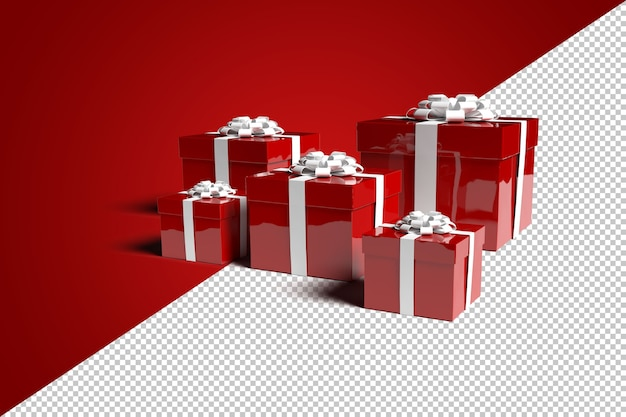 Render gift box for merry christmas isolated