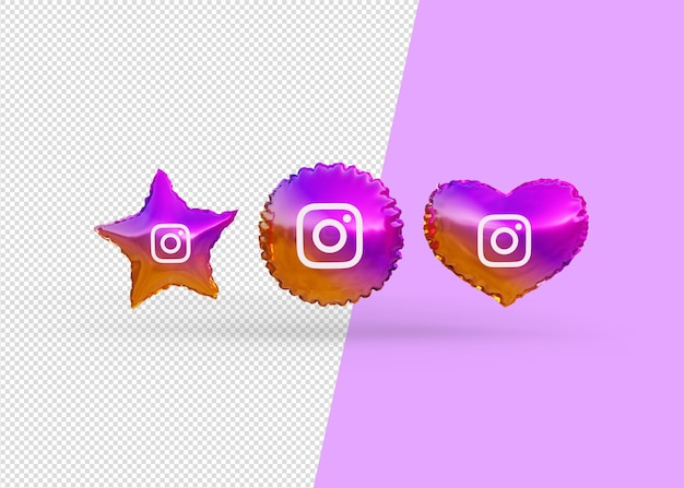 Render instagram icon balloons isolated