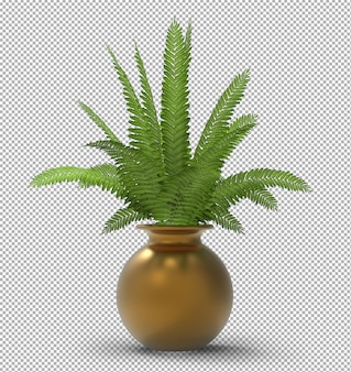 Render of isolated plant. isometric front view. transparent wall. premium 3d.
