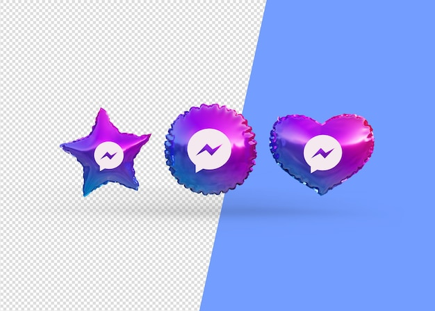 Render messenger icon balloons isolated