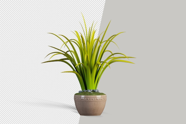 金属ポットで隔離された植物のレンダリング
