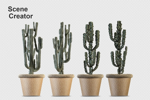Визуализация изолированного растения изометрической вид спереди прозрачной стены Premium Psd