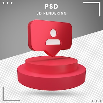 Рендеринг 3d повернутого логотипа подписчиков instagram