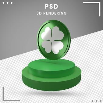 分離された聖パトリックの日の3d回転ロゴのレンダリング