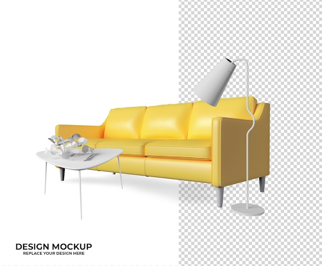 Рендеринг кресла диван модель decora Premium Psd
