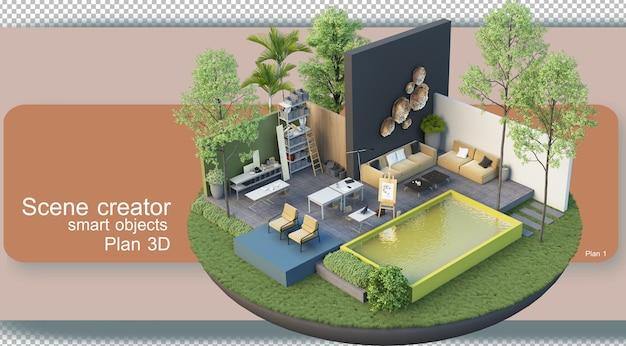 Визуализация поэтажных планов архитектуры и внутренней отделки