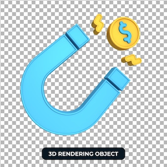 Rendering money magnet 3d object transparent background