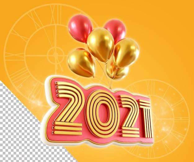 フローティングバルーンを使用した新年の2021年の数値のレンダリング