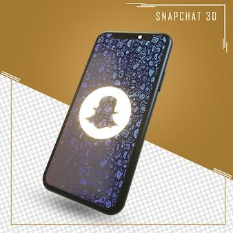 Рендеринг мобильного телефона со значком snapchat